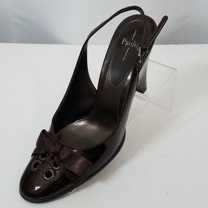 Paolo 8.5 W Brown Patten Leather 4 inche Heels